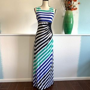 Colorful Striped Flattering Maxi Dress Size 10